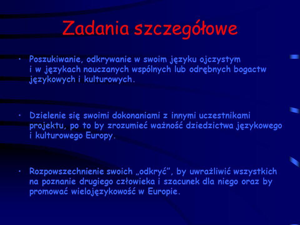 Zadania szczegółowe Poszukiwanie, odkrywanie w swoim języku ojczystym i w językach nauczanych wspólnych lub odrębnych bogactw językowych i kulturowych.