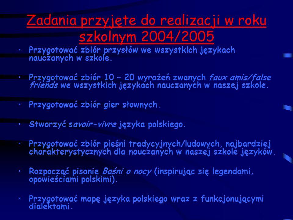 Zadania przyjęte do realizacji w roku szkolnym 2004/2005 Przygotować zbiór przysłów we wszystkich językach nauczanych w szkole.