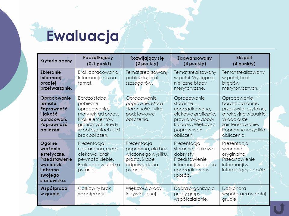Ewaluacja Kryteria oceny Początkujący (0-1 punkt) Rozwijający się (2 punkty) Zaawansowany (3 punkty) Ekspert (4 punkty) Zbieranie informacji oraz jej