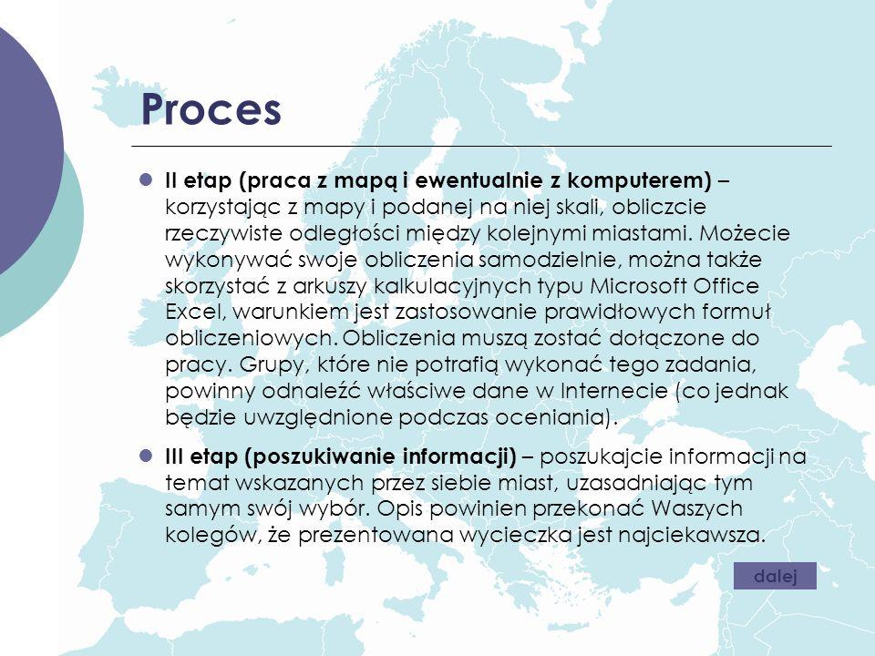 Proces II etap (praca z mapą i ewentualnie z komputerem) – korzystając z mapy i podanej na niej skali, obliczcie rzeczywiste odległości między kolejny