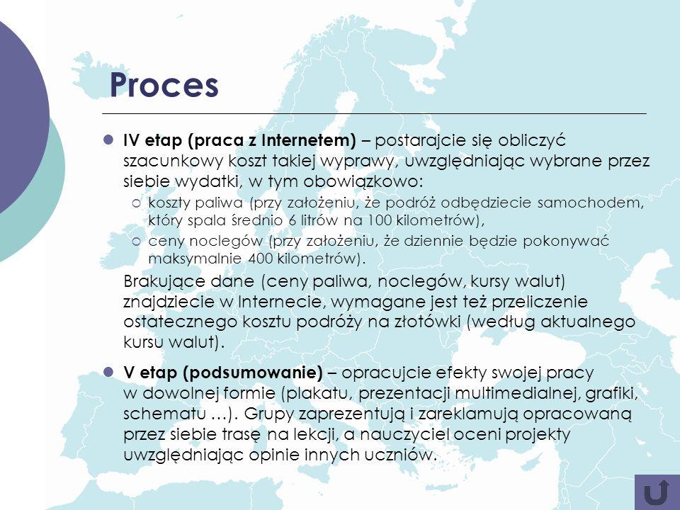 Proces IV etap (praca z Internetem) – postarajcie się obliczyć szacunkowy koszt takiej wyprawy, uwzględniając wybrane przez siebie wydatki, w tym obow