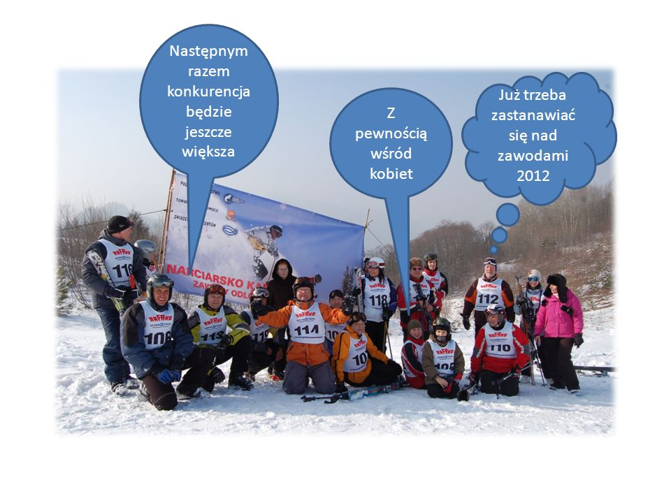 Następnym razem konkurencja będzie jeszcze większa Już trzeba zastanawiać się nad zawodami 2012 Z pewnością wśród kobiet