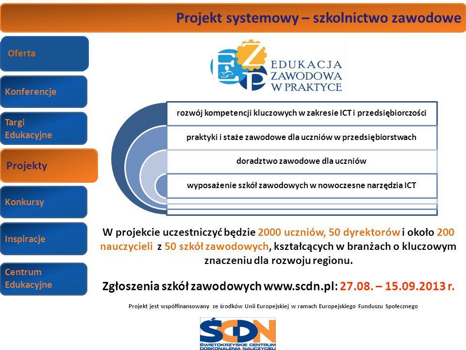Konferencje Targi Edukacyjne Wizyty studyjne Konkursy Inspiracje Centrum Edukacyjne Projekt systemowy – szkolnictwo zawodowe W projekcie uczestniczyć