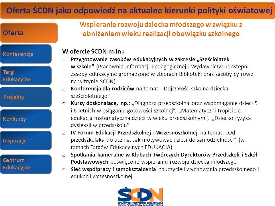 Konferencje Targi Edukacyjne Wizyty studyjne Konkursy Inspiracje Centrum Edukacyjne Oferta ŚCDN jako odpowiedź na aktualne kierunki polityki oświatowe