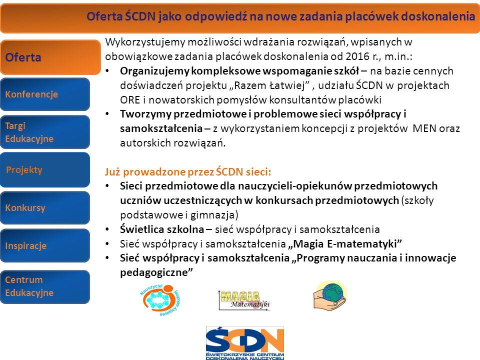 Konferencje Targi Edukacyjne Wizyty studyjne Konkursy Inspiracje Centrum Edukacyjne Oferta ŚCDN jako odpowiedź na nowe zadania placówek doskonalenia O