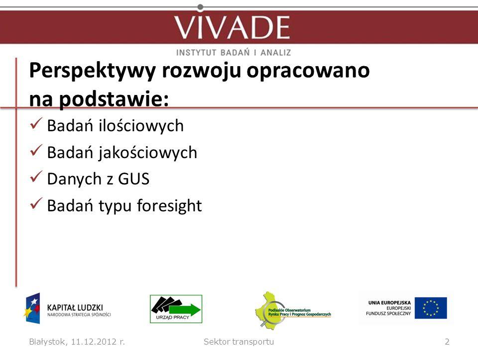 Perspektywy rozwoju opracowano na podstawie: Badań ilościowych Badań jakościowych Danych z GUS Badań typu foresight Białystok, 11.12.2012 r.Sektor transportu2