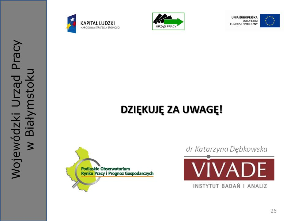 Wojewódzki Urząd Pracy w Białymstoku DZIĘKUJĘ ZA UWAGĘ! dr Katarzyna Dębkowska 26