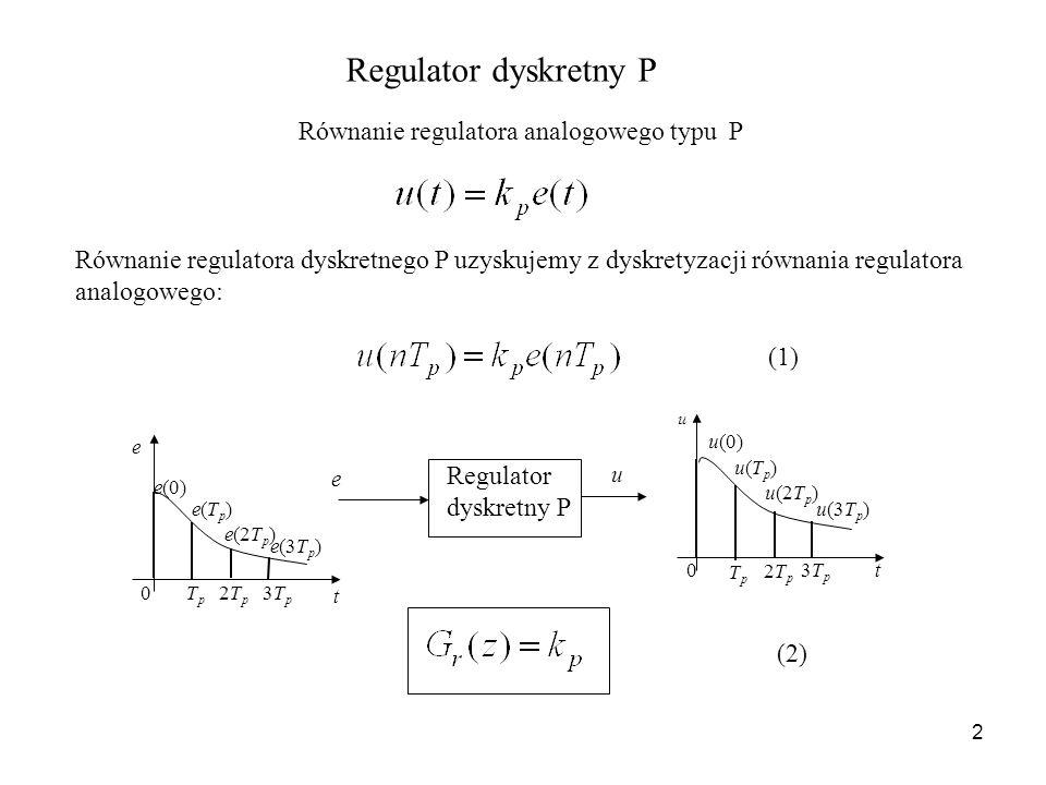 2 Regulator dyskretny P Równanie regulatora analogowego typu P Równanie regulatora dyskretnego P uzyskujemy z dyskretyzacji równania regulatora analog