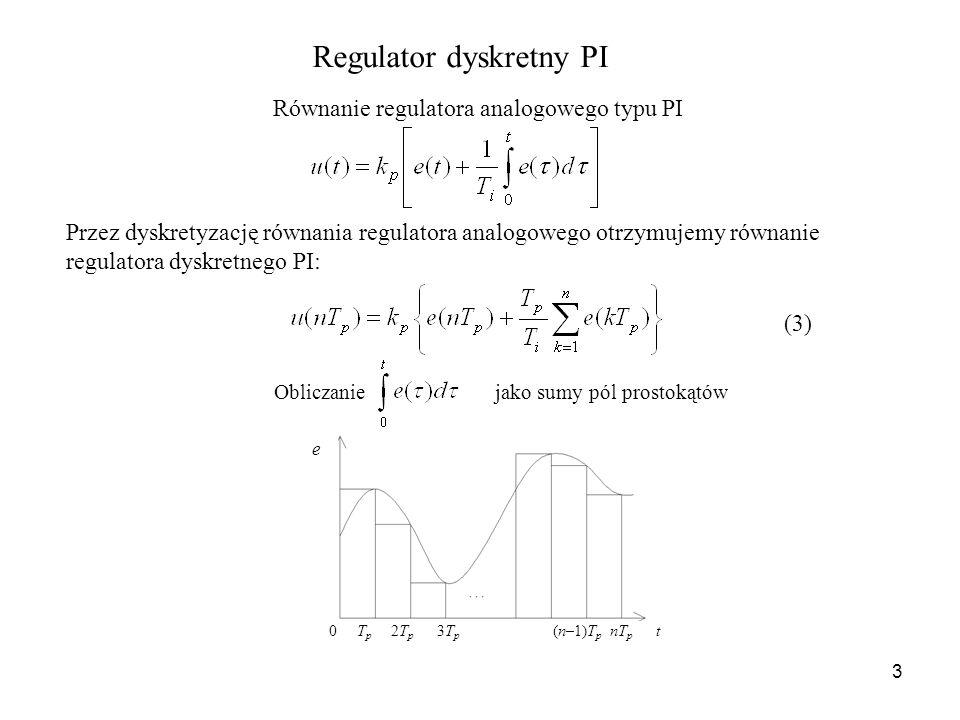 3 Regulator dyskretny PI Równanie regulatora analogowego typu PI Przez dyskretyzację równania regulatora analogowego otrzymujemy równanie regulatora d