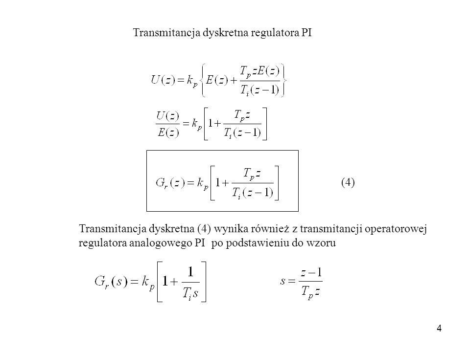 4 Transmitancja dyskretna regulatora PI Transmitancja dyskretna (4) wynika również z transmitancji operatorowej regulatora analogowego PI po podstawie