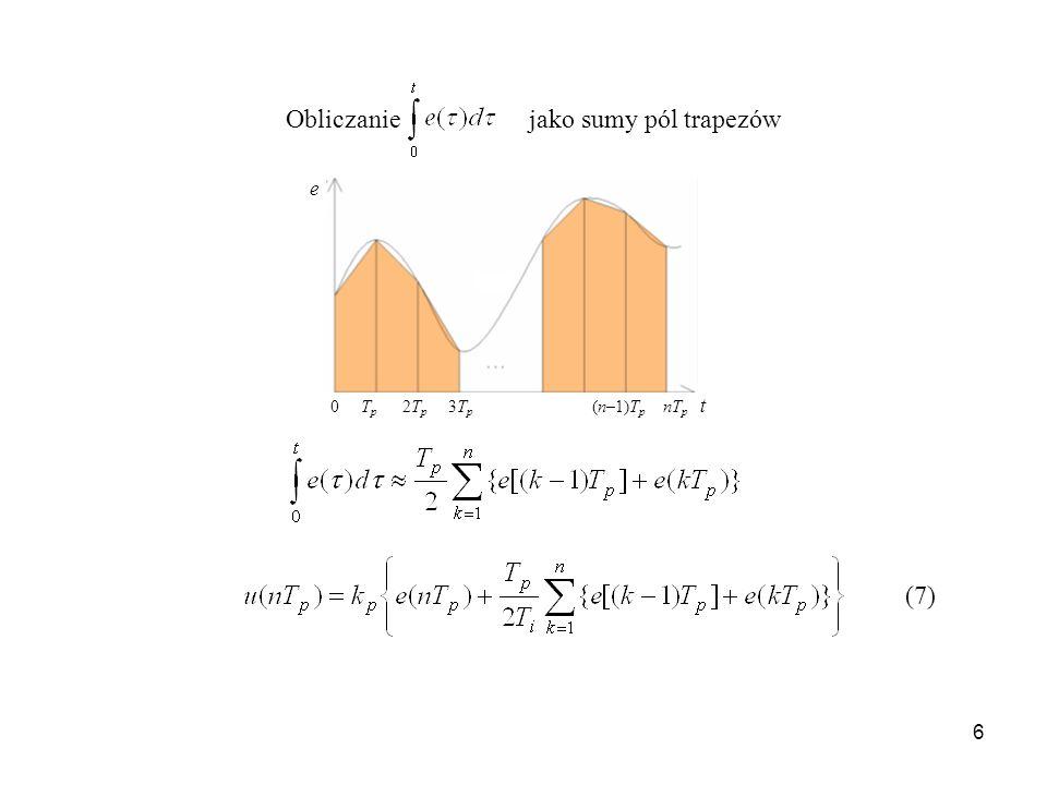 6 0 T p 2T p 3T p (n–1)T p nT p t e Obliczanie jako sumy pól trapezów (7)
