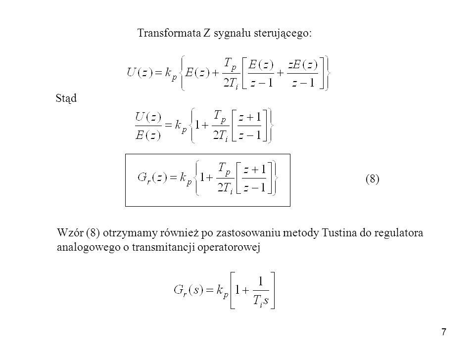 7 Transformata Z sygnału sterującego: Stąd (8) Wzór (8) otrzymamy również po zastosowaniu metody Tustina do regulatora analogowego o transmitancji ope