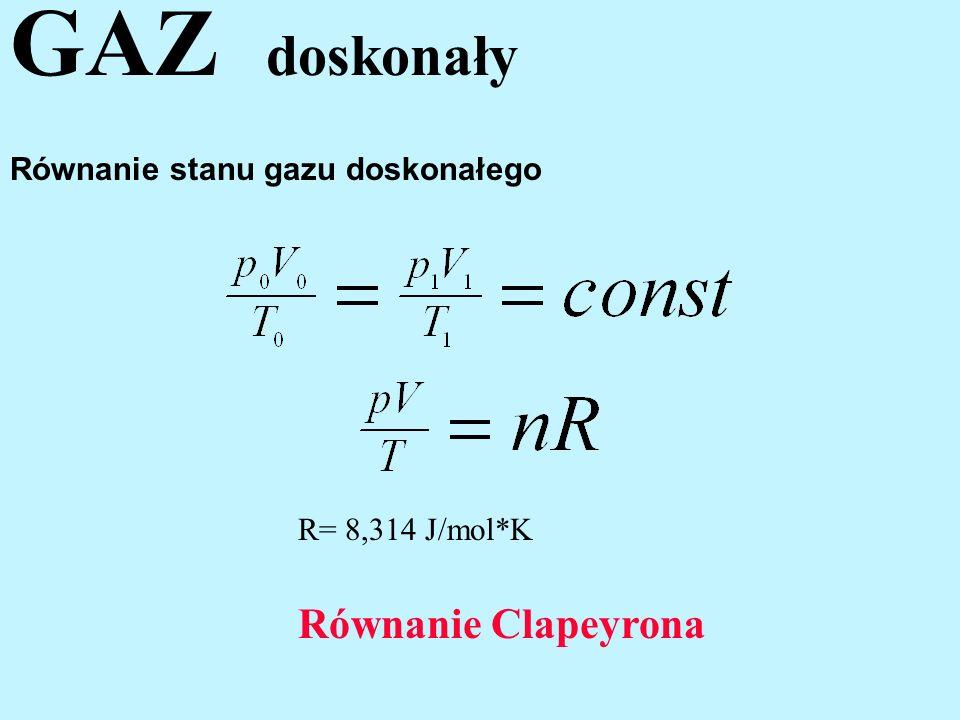 Równanie stanu gazu doskonałego R= 8,314 J/mol*K Równanie Clapeyrona GAZ doskonały