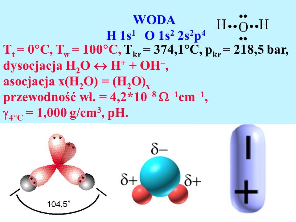 WODA H 1s 1 O 1s 2 2s 2 p 4 T t = 0 C, T w = 100 C, T kr = 374,1 C, p kr = 218,5 bar, dysocjacja H 2 O H + + OH, asocjacja x(H 2 O) = (H 2 O) x przewo
