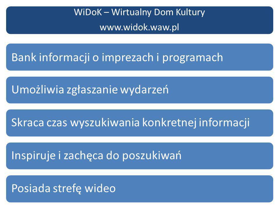 www.widok.waw.pl Bank informacji o imprezach i programach Skraca czas wyszukiwania konkretnej informacjiUmożliwia zgłaszanie wydarzeńInspiruje i zachęca do poszukiwańPosiada strefę wideo