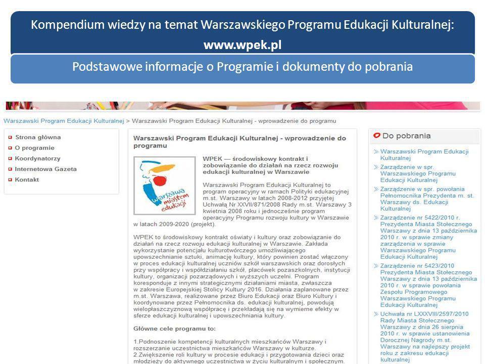 Kompendium wiedzy na temat Warszawskiego Programu Edukacji Kulturalnej: www.wpek.pl Podstawowe informacje o Programie i dokumenty do pobrania