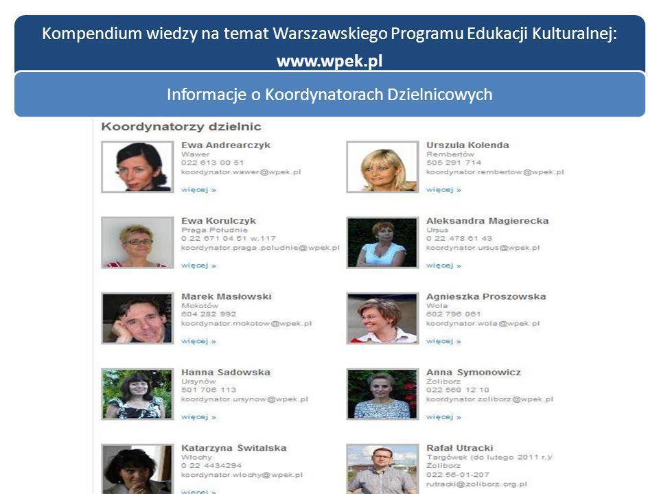 Kompendium wiedzy na temat Warszawskiego Programu Edukacji Kulturalnej: www.wpek.pl Informacje o Koordynatorach Dzielnicowych