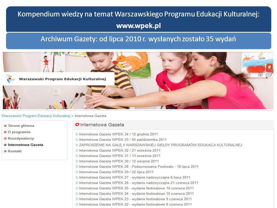 Kompendium wiedzy na temat Warszawskiego Programu Edukacji Kulturalnej: www.wpek.pl Archiwum Gazety: od lipca 2010 r. wysłanych zostało 35 wydań