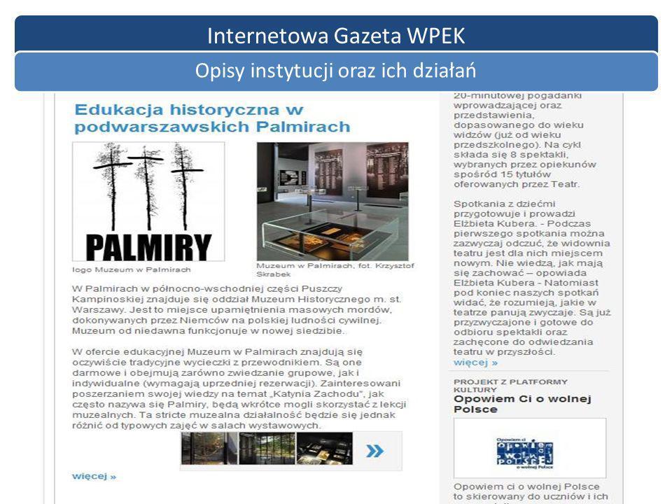 Internetowa Gazeta WPEK Opisy instytucji oraz ich działań