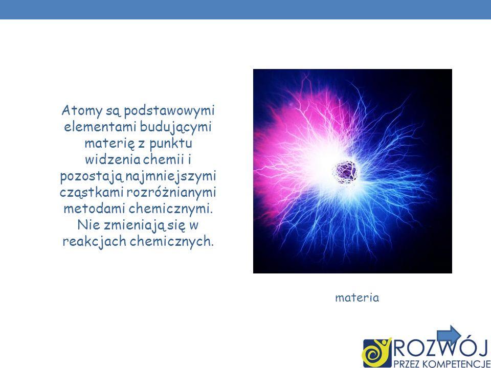 Atomy są podstawowymi elementami budującymi materię z punktu widzenia chemii i pozostają najmniejszymi cząstkami rozróżnianymi metodami chemicznymi. N
