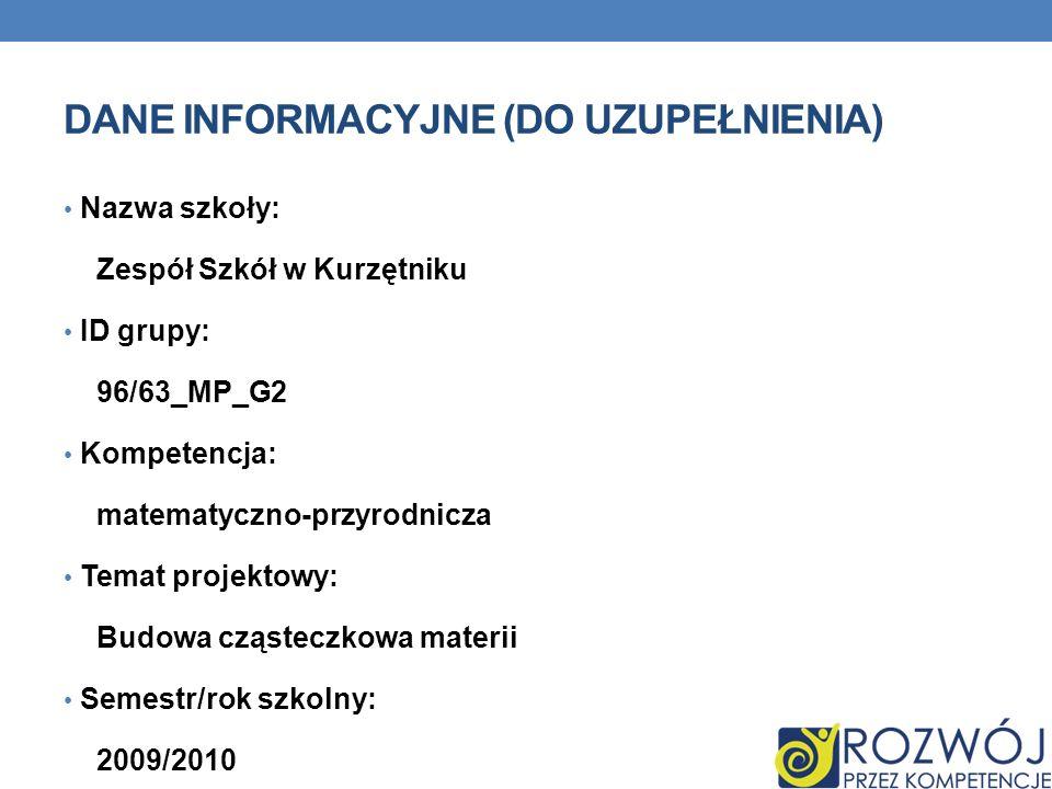 DANE INFORMACYJNE (DO UZUPEŁNIENIA) Nazwa szkoły: Zespół Szkół w Kurzętniku ID grupy: 96/63_MP_G2 Kompetencja: matematyczno-przyrodnicza Temat projekt