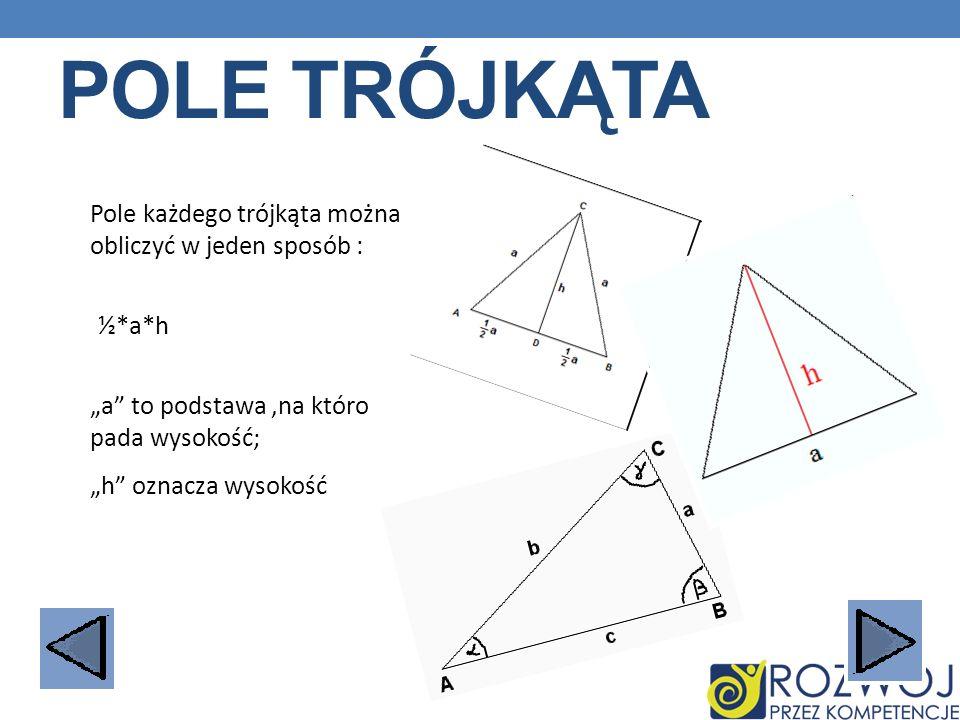 POLE TRÓJKĄTA Pole każdego trójkąta można obliczyć w jeden sposób : ½*a*h a to podstawa,na któro pada wysokość; h oznacza wysokość