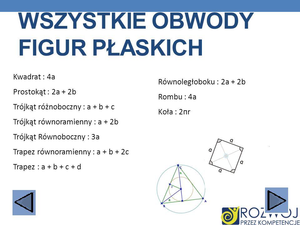 WSZYSTKIE OBWODY FIGUR PŁASKICH Kwadrat : 4a Prostokąt : 2a + 2b Trójkąt różnoboczny : a + b + c Trójkąt równoramienny : a + 2b Trójkąt Równoboczny :