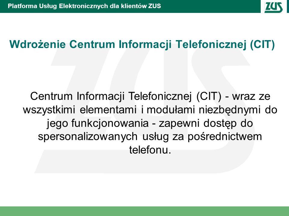 Platforma Usług Elektronicznych dla klientów ZUS Wdrożenie Centrum Informacji Telefonicznej (CIT) Centrum Informacji Telefonicznej (CIT) - wraz ze wsz