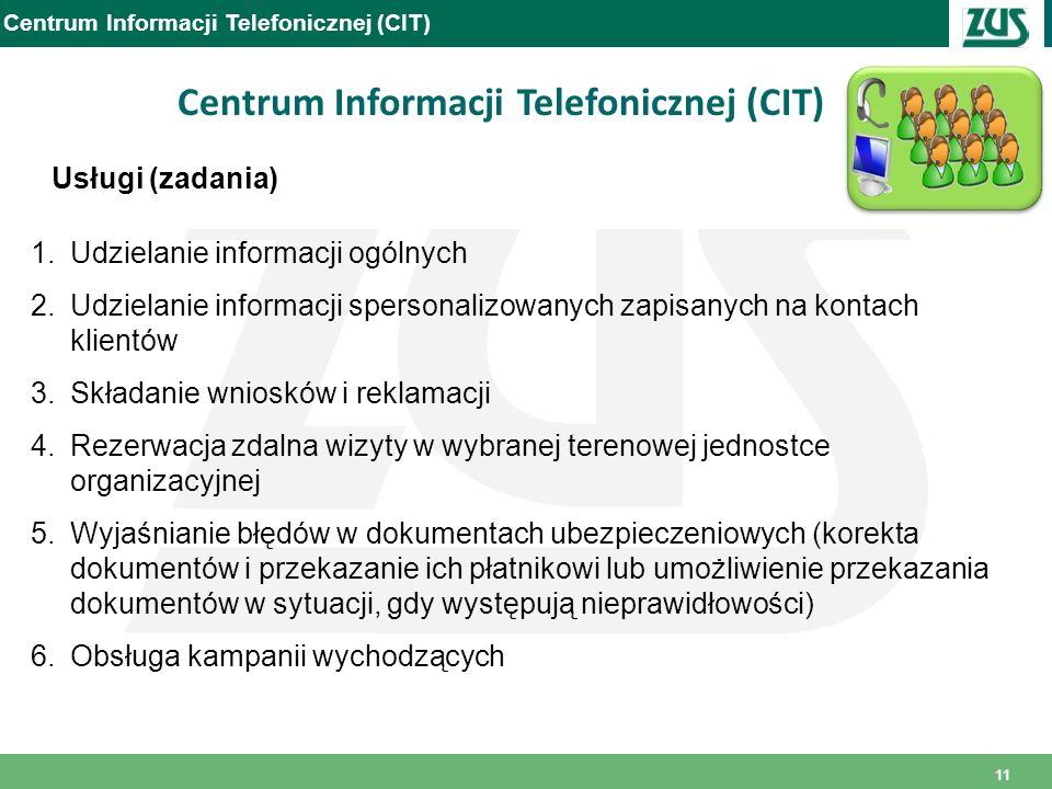 11 Usługi (zadania) Centrum Informacji Telefonicznej (CIT) 1.Udzielanie informacji ogólnych 2.Udzielanie informacji spersonalizowanych zapisanych na k