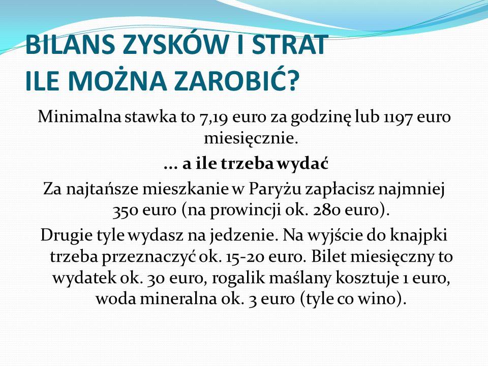 BILANS ZYSKÓW I STRAT ILE MOŻNA ZAROBIĆ? Minimalna stawka to 7,19 euro za godzinę lub 1197 euro miesięcznie.... a ile trzeba wydać Za najtańsze mieszk