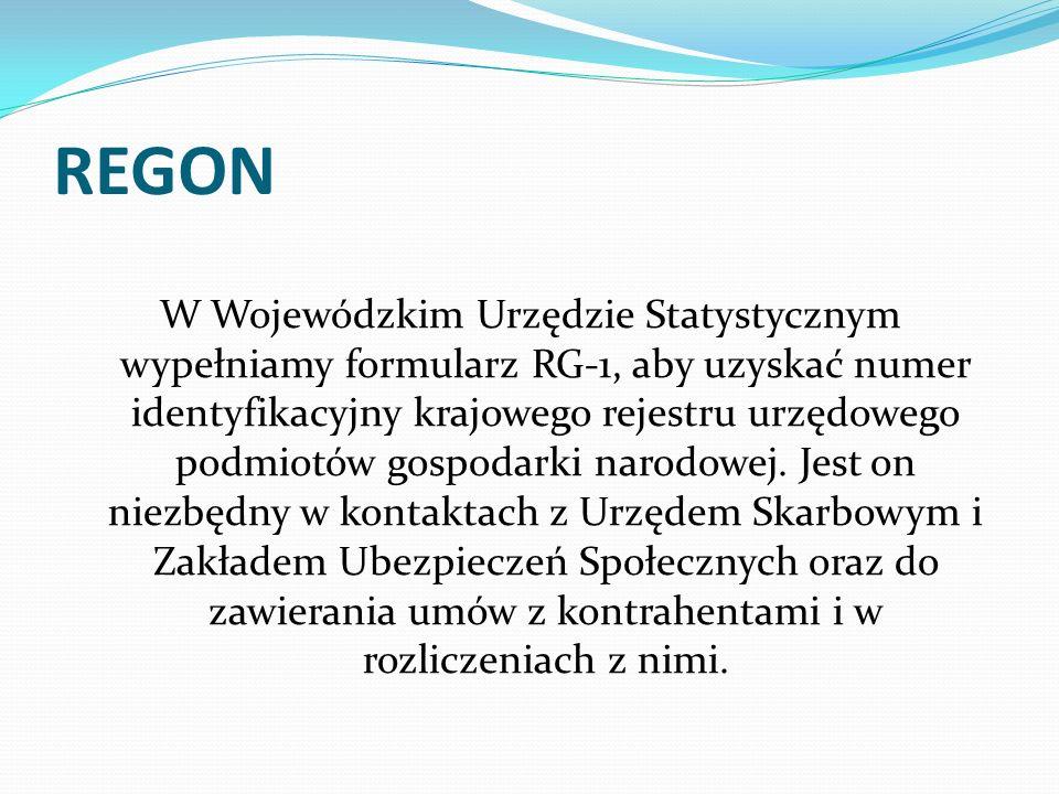 REGON W Wojewódzkim Urzędzie Statystycznym wypełniamy formularz RG-1, aby uzyskać numer identyfikacyjny krajowego rejestru urzędowego podmiotów gospod