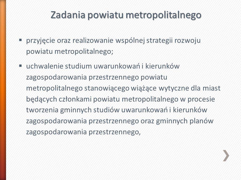 Zadania powiatu metropolitalnego przyjęcie oraz realizowanie wspólnej strategii rozwoju powiatu metropolitalnego; uchwalenie studium uwarunkowań i kie