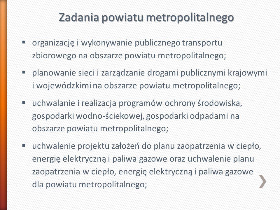 Zadania powiatu metropolitalnego organizację i wykonywanie publicznego transportu zbiorowego na obszarze powiatu metropolitalnego; planowanie sieci i