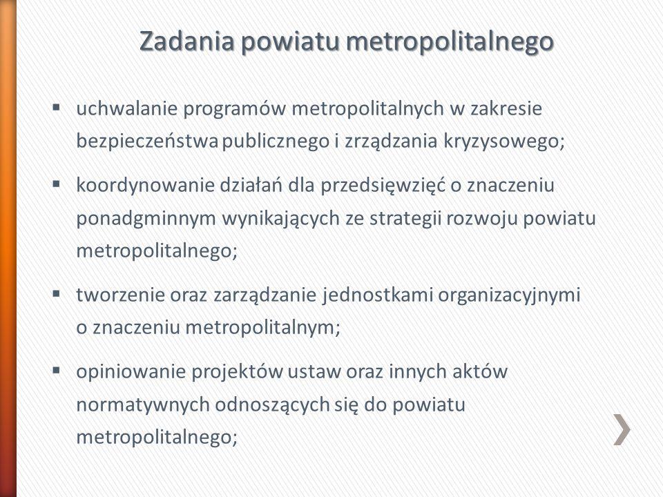Zadania powiatu metropolitalnego uchwalanie programów metropolitalnych w zakresie bezpieczeństwa publicznego i zrządzania kryzysowego; koordynowanie d