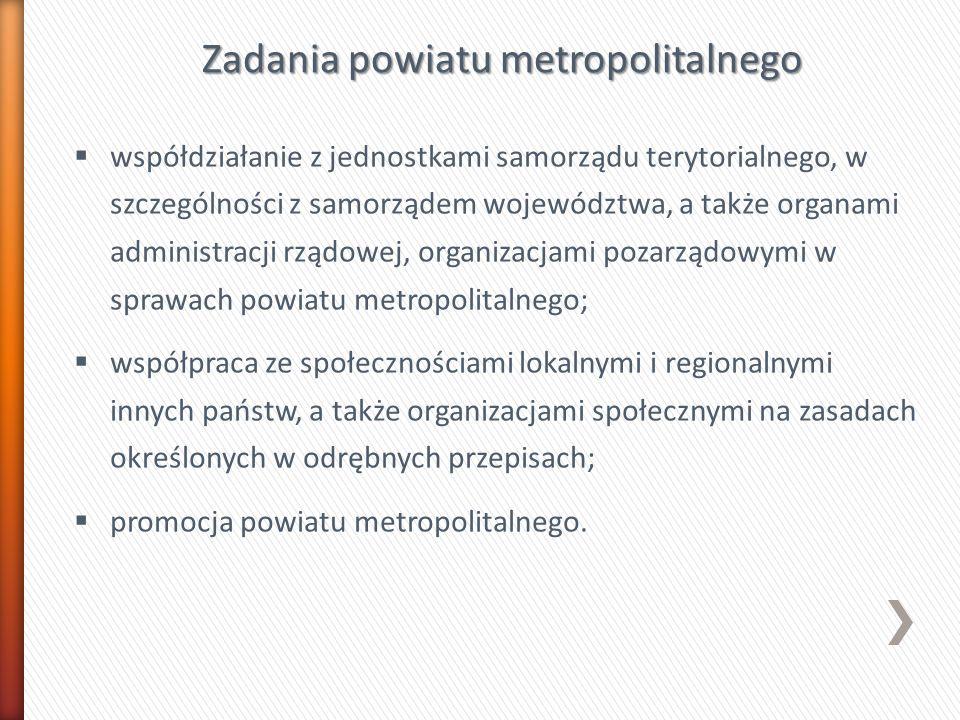 Zadania powiatu metropolitalnego współdziałanie z jednostkami samorządu terytorialnego, w szczególności z samorządem województwa, a także organami adm