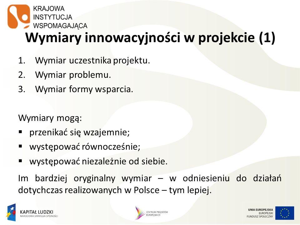 Wymiary innowacyjności w projekcie (1) 1.Wymiar uczestnika projektu. 2.Wymiar problemu. 3.Wymiar formy wsparcia. Wymiary mogą: przenikać się wzajemnie