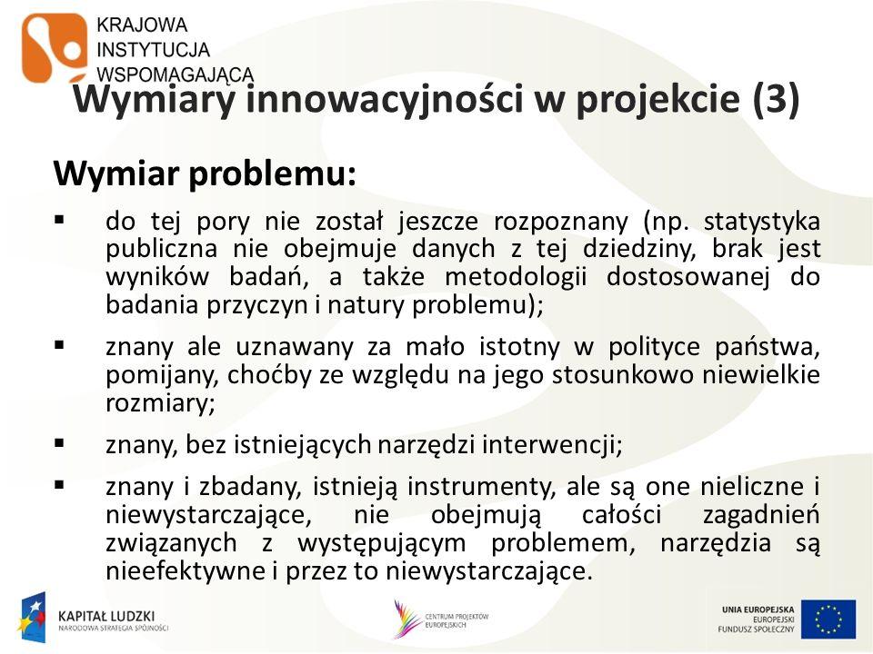 Wymiary innowacyjności w projekcie (3) Wymiar problemu: do tej pory nie został jeszcze rozpoznany (np. statystyka publiczna nie obejmuje danych z tej