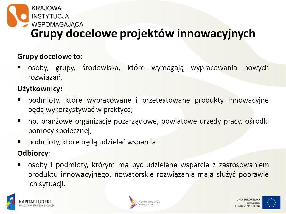 Grupy docelowe projektów innowacyjnych Grupy docelowe to: osoby, grupy, środowiska, które wymagają wypracowania nowych rozwiązań. Użytkownicy: podmiot