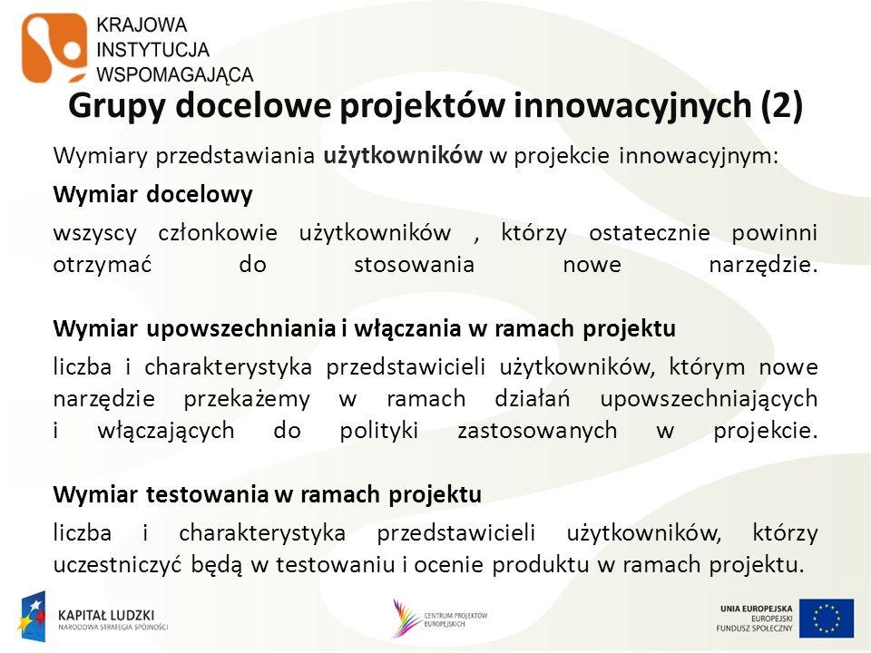 Grupy docelowe projektów innowacyjnych (2) Wymiary przedstawiania użytkowników w projekcie innowacyjnym: Wymiar docelowy wszyscy członkowie użytkownik