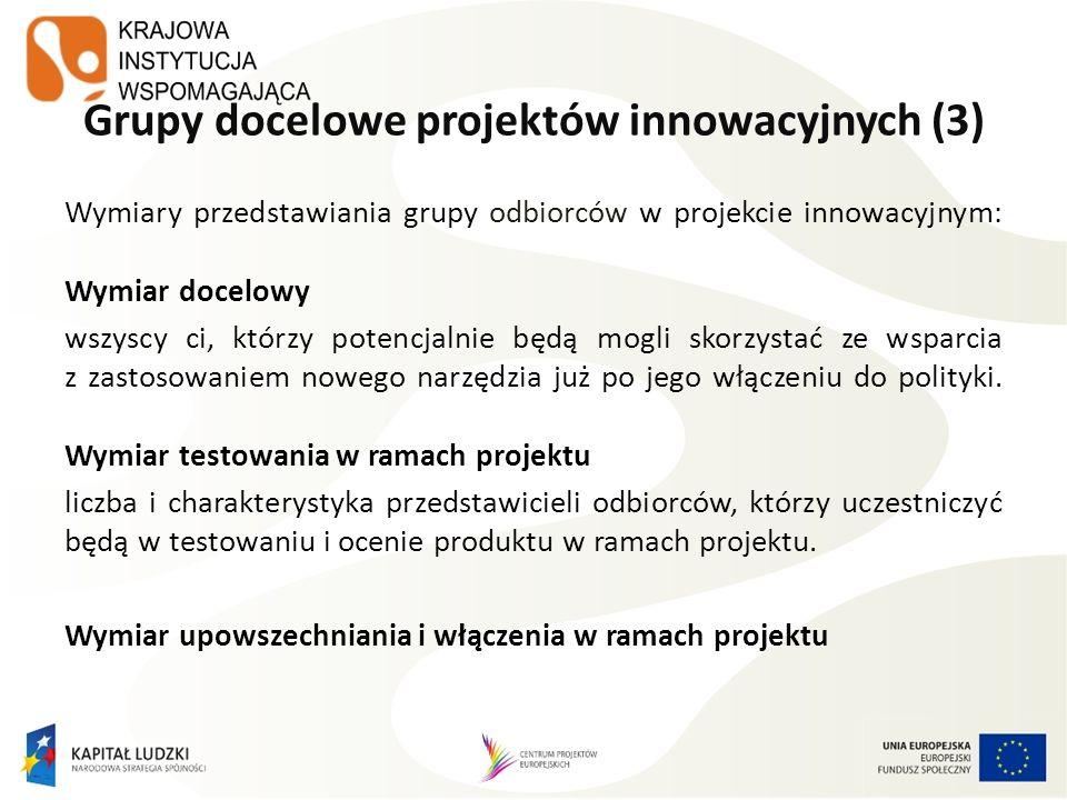 Grupy docelowe projektów innowacyjnych (3) Wymiary przedstawiania grupy odbiorców w projekcie innowacyjnym: Wymiar docelowy wszyscy ci, którzy potencj