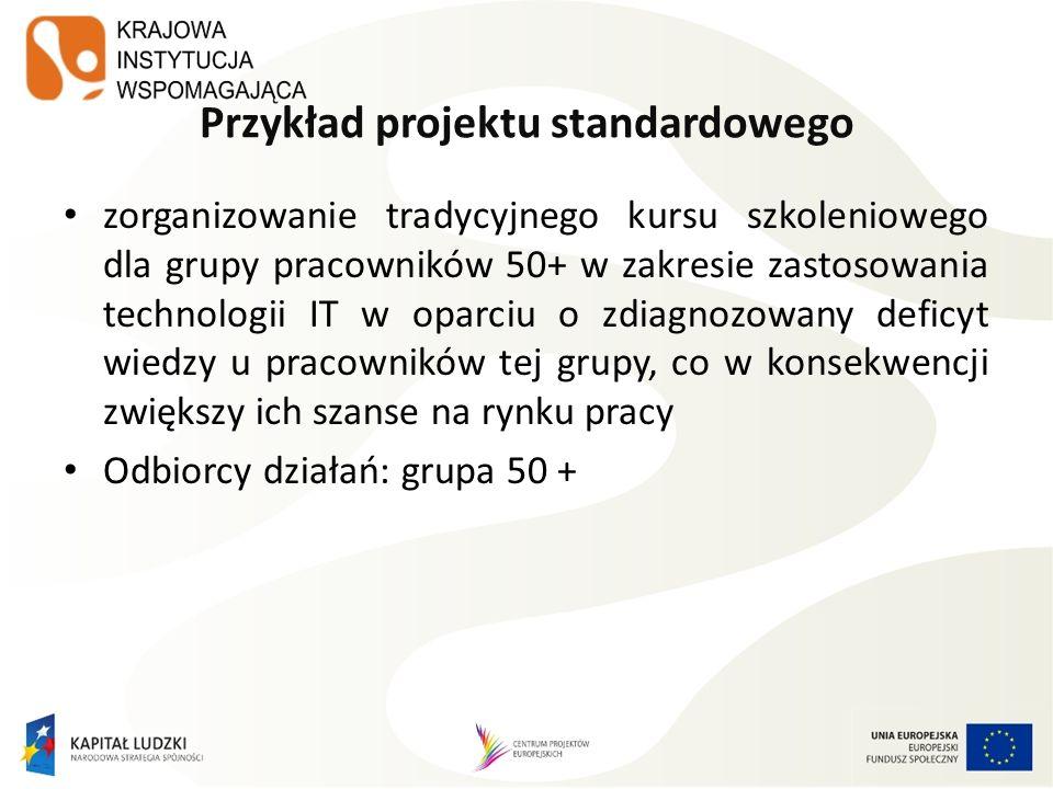 Przykład projektu standardowego zorganizowanie tradycyjnego kursu szkoleniowego dla grupy pracowników 50+ w zakresie zastosowania technologii IT w opa