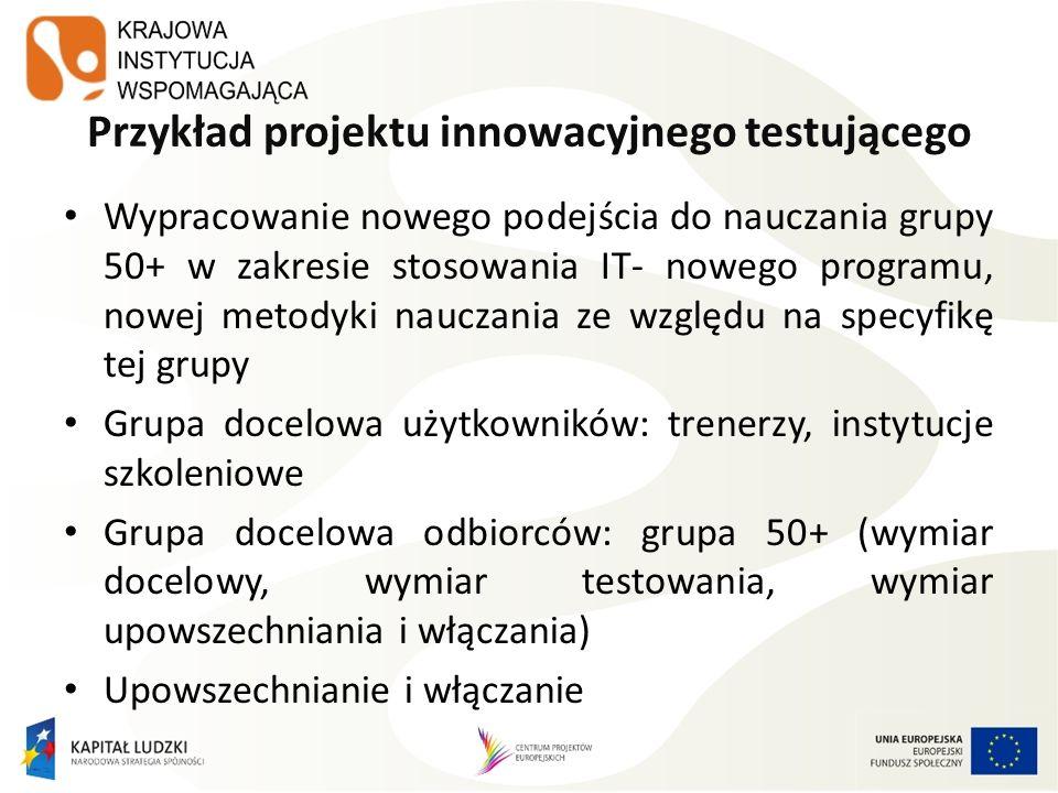 Przykład projektu innowacyjnego testującego Wypracowanie nowego podejścia do nauczania grupy 50+ w zakresie stosowania IT- nowego programu, nowej meto