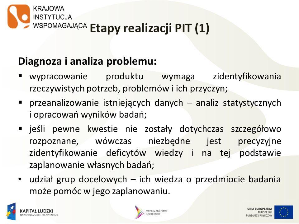 Etapy realizacji PIT (1) Diagnoza i analiza problemu: wypracowanie produktu wymaga zidentyfikowania rzeczywistych potrzeb, problemów i ich przyczyn; p