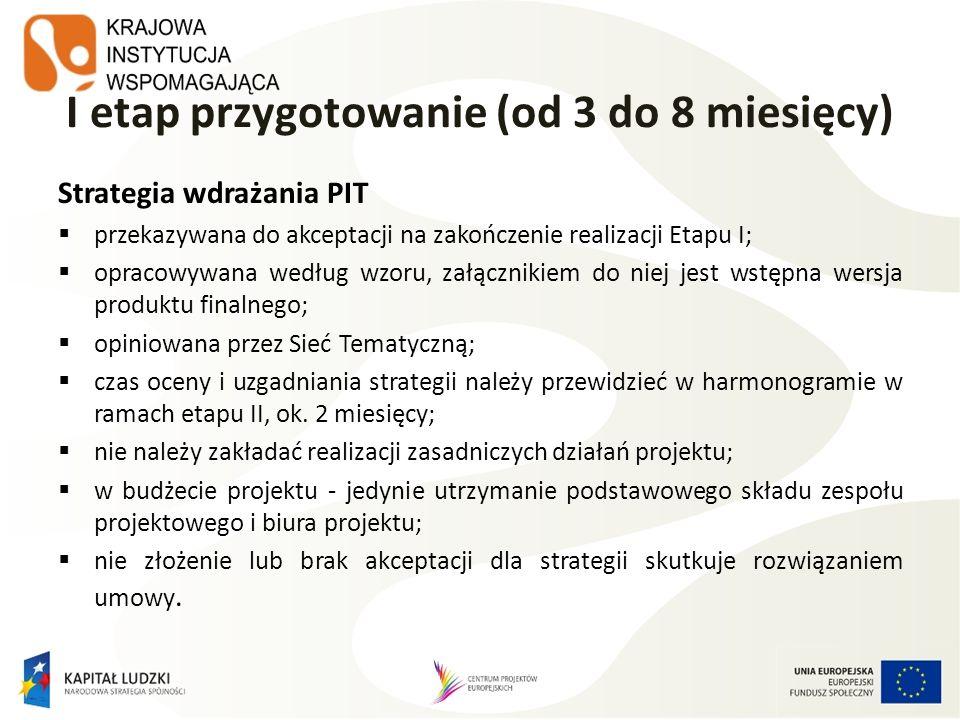 I etap przygotowanie (od 3 do 8 miesięcy) Strategia wdrażania PIT przekazywana do akceptacji na zakończenie realizacji Etapu I; opracowywana według wz