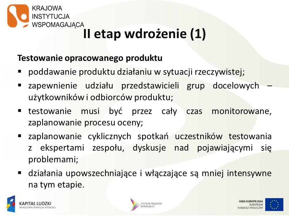 II etap wdrożenie (1) Testowanie opracowanego produktu poddawanie produktu działaniu w sytuacji rzeczywistej; zapewnienie udziału przedstawicieli grup