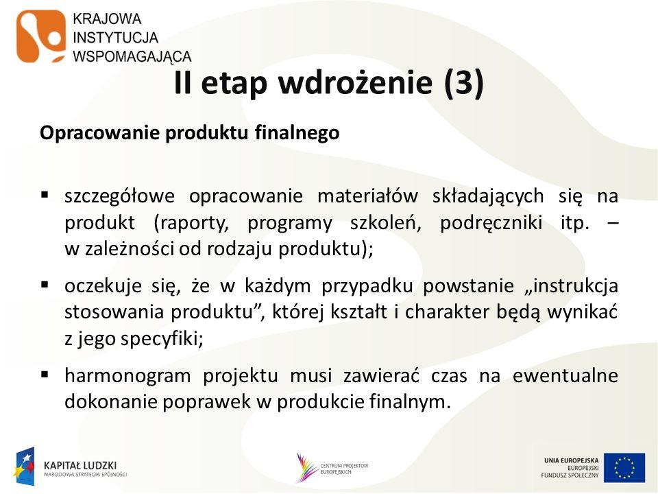 II etap wdrożenie (3) Opracowanie produktu finalnego szczegółowe opracowanie materiałów składających się na produkt (raporty, programy szkoleń, podręc