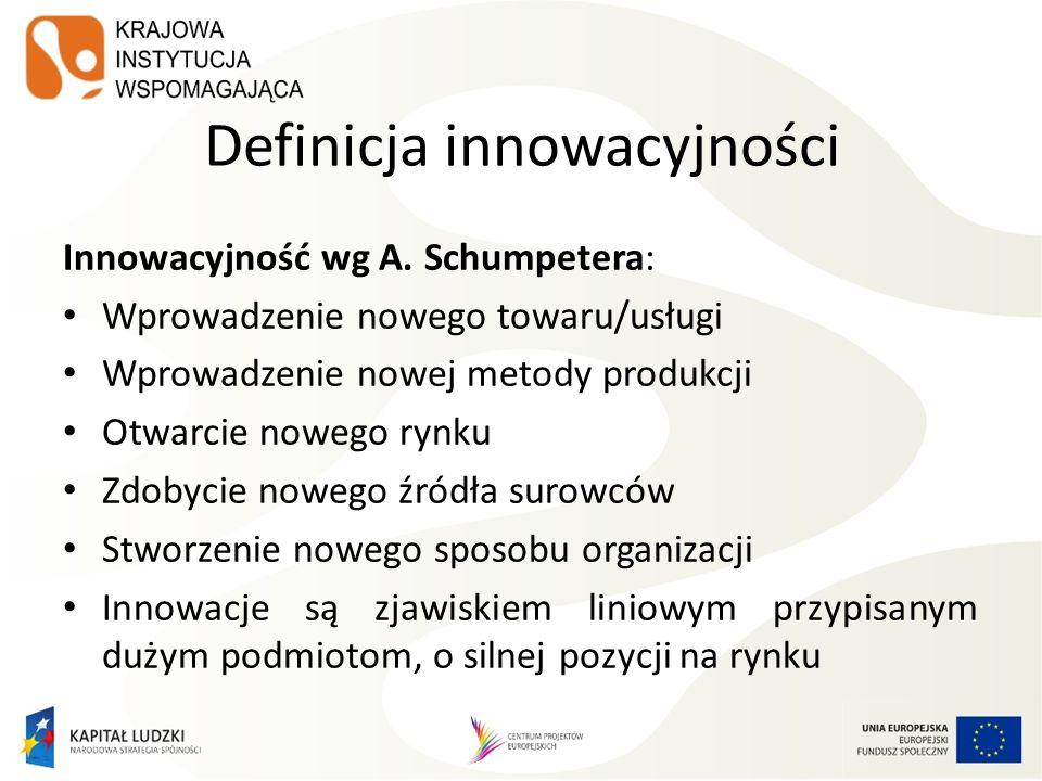 Definicja innowacyjności Innowacyjność wg A. Schumpetera: Wprowadzenie nowego towaru/usługi Wprowadzenie nowej metody produkcji Otwarcie nowego rynku