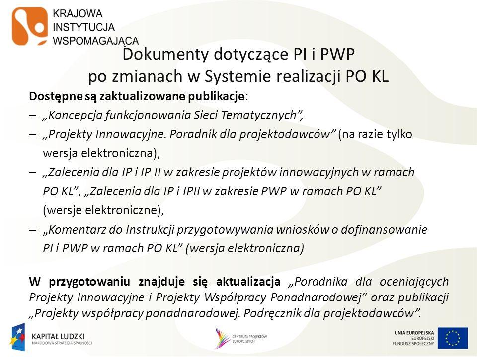 Dokumenty dotyczące PI i PWP po zmianach w Systemie realizacji PO KL Dostępne są zaktualizowane publikacje: – Koncepcja funkcjonowania Sieci Tematyczn