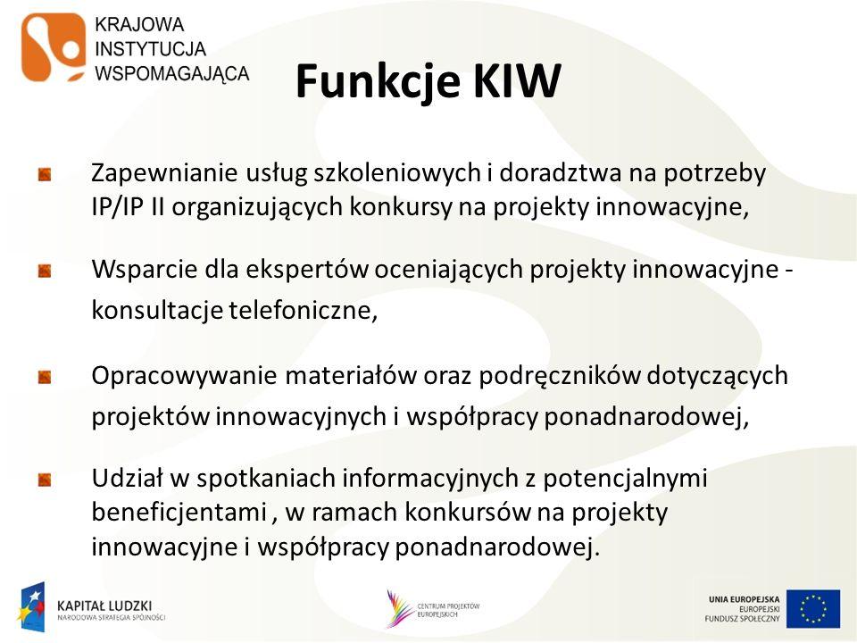 Funkcje KIW Zapewnianie usług szkoleniowych i doradztwa na potrzeby IP/IP II organizujących konkursy na projekty innowacyjne, Wsparcie dla ekspertów oceniających projekty innowacyjne - konsultacje telefoniczne, Opracowywanie materiałów oraz podręczników dotyczących projektów innowacyjnych i współpracy ponadnarodowej, Udział w spotkaniach informacyjnych z potencjalnymi beneficjentami, w ramach konkursów na projekty innowacyjne i współpracy ponadnarodowej.