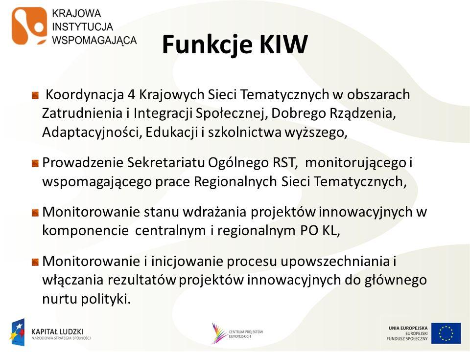 Funkcje KIW Koordynacja 4 Krajowych Sieci Tematycznych w obszarach Zatrudnienia i Integracji Społecznej, Dobrego Rządzenia, Adaptacyjności, Edukacji i szkolnictwa wyższego, Prowadzenie Sekretariatu Ogólnego RST, monitorującego i wspomagającego prace Regionalnych Sieci Tematycznych, Monitorowanie stanu wdrażania projektów innowacyjnych w komponencie centralnym i regionalnym PO KL, Monitorowanie i inicjowanie procesu upowszechniania i włączania rezultatów projektów innowacyjnych do głównego nurtu polityki.